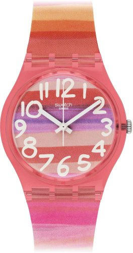 Swatch GP140 ASTILBE  - Orologio da Donna Analogico al Quarzo Gent con Cinturino di plastica, Multicolore
