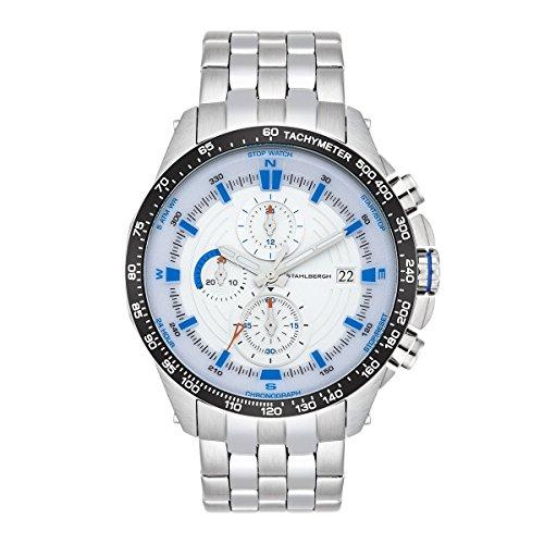 Stahlbergh Orologio da Uomo Svendborg Cronografo Blu / Bianco Braccialetto in Acciaio inossidabile Argento / Silver 5 ATM 10060112