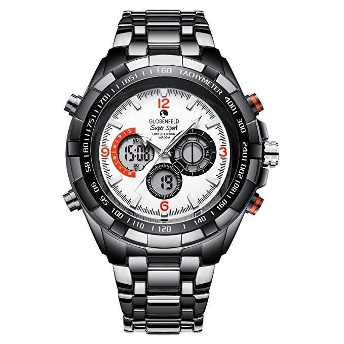 Globenfeld Super Sport 2.0 Mens Watch - Chronograph Quartz, Analogue/Digital Display - Limited Edition - Classic Minimalist Simple Design - Scratch Resistant Glass - 5 Year Warranty, 60 Days Return